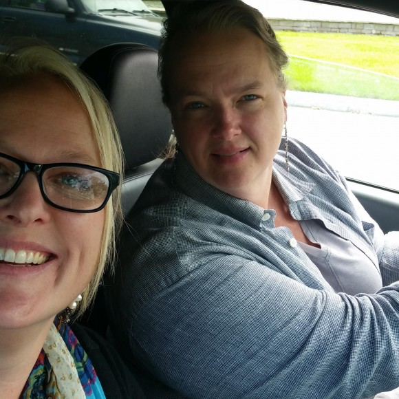 This is us on the way to get donuts to celebrate having survived August.